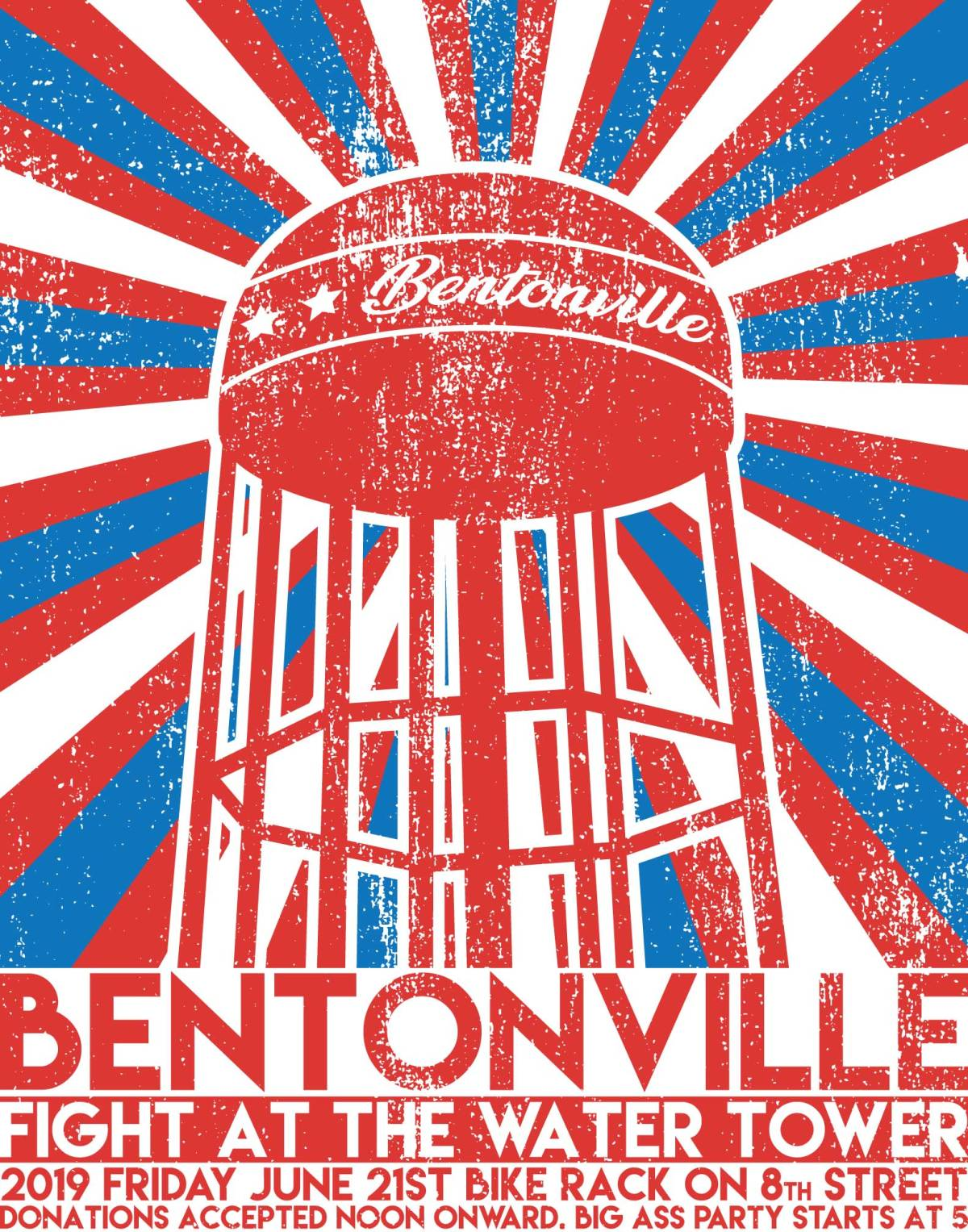 """City of Bentonville""- Fight at the Water Tower Info Poster"